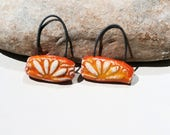 for Loralee- 2 charms - handmade ceramic clay supply for earrings - orange yellow