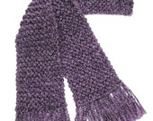 Purple Scarf, Long Hand Knit Scarf, Lavender Scarf, Knitted Scarf, for Men or Women, Winter Scarf, Chunky Knit Scarf