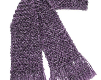 Purple Scarf, 6 ft Long Chunky Knit Scarf, Lavender Scarf, Knitted Scarf, for Men or Women Winter Scarf
