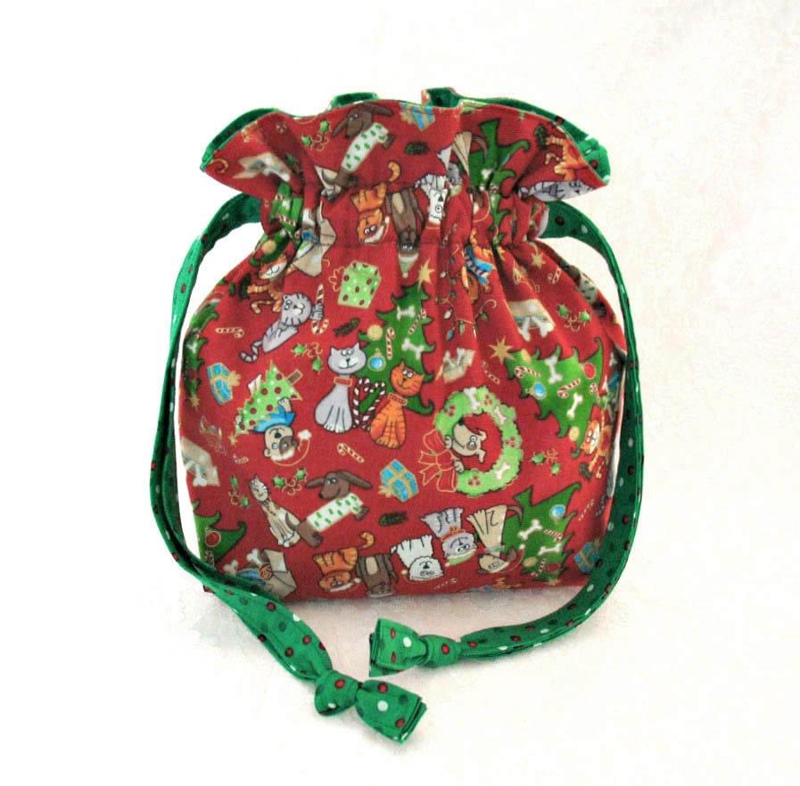 Christmas gift bag fabric lined drawstring
