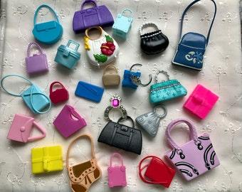 24 Barbie Purses Suitcase Briefcase Shoulder Bag Clutch Handbag 2 Crowns Doll Lot