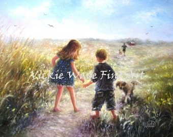 Country Girl and Boy Art Print, brother, sister, walking, red haired girl, path, red head girl, two boys, girl, three kids, Vickie Wade Art