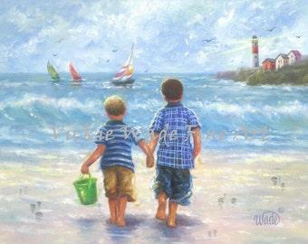 Two Beach Boys Art Print two little brothers, beach wall art boys room blue beach art lighthouse ocean nautical wall decor, Vickie Wade Art