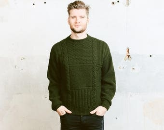 Vintage Fisherman SWEATER . Mens Forest Green Chunky Knit Sweater Pullover Jumper Wool Cozy Boyfriend Gift . size Medium M