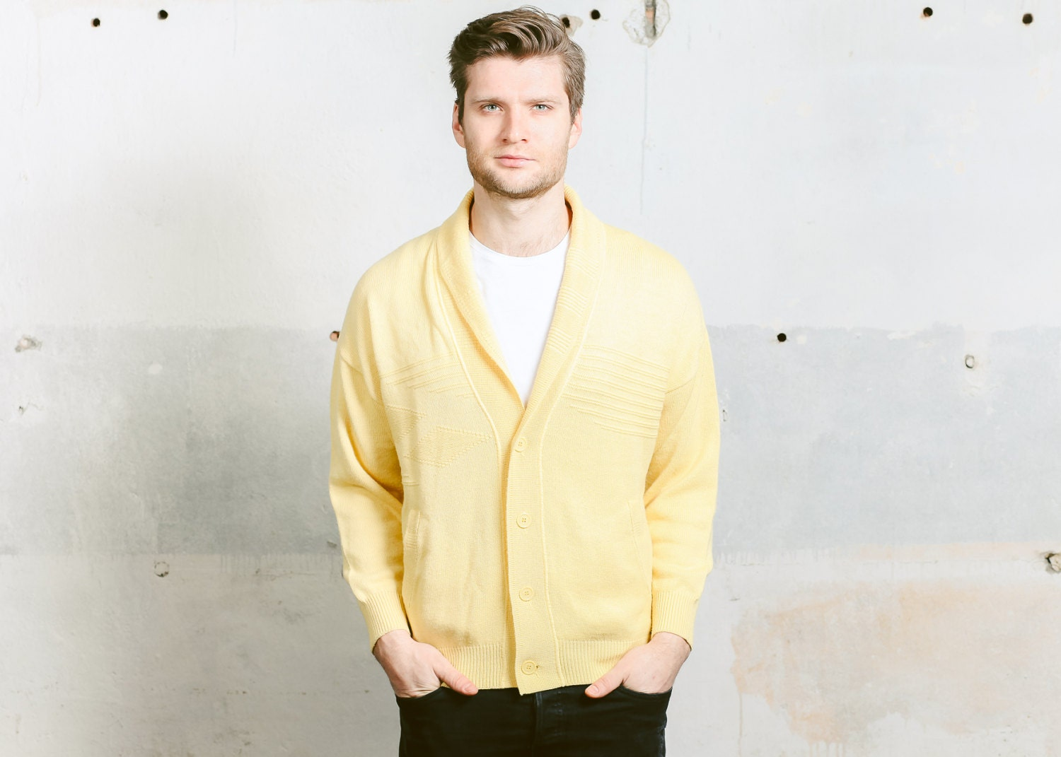 SHAWL COLLAR Cardigan Sweater . Oversized Mens Yellow Wool