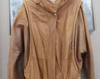 80's  outerwear  by Phoenix soft 2 TONE   brown Leather Biker Buckle Bomber  Jacket  sz small