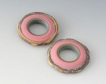 Rustic Square Discs - (2) Handmade Lampwork Beads - Pink