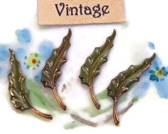 Vintage Brass Leaves Leaf Stampings Enamel Patina Green.Hand painted Art Deco Small Shabby Art Nouveau Loop 20x5mm Stamping. 1557H