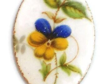 Vintage Guilloche Cabochon Violet Pansy 20x30mm Floral Cloisonne Flower.  #1402X