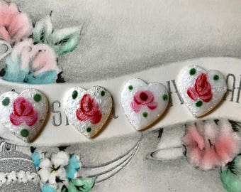 Silver Guilloche Hearts,Vintage Enamel Hearts,Guilloche Heart Cabochons, Enamel Heart Cabochons Rose Silver Pink shabby Chic 11mm #686A