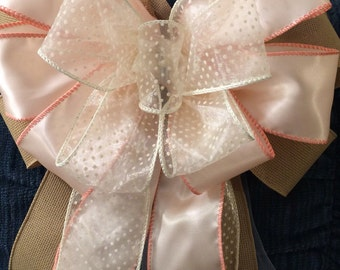 Large Bow Easter Peach Wedding Bridal Shower Multicolored Burlap Mother's Day Big Wreath Party Decor