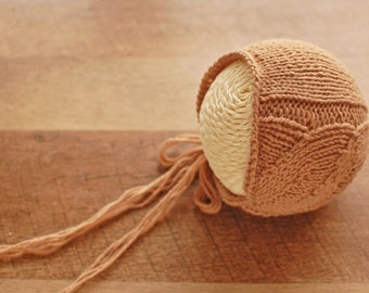 "PDF Knitting Pattern - Knit Bonnet Pattern - Newborn Photography Prop Pattern - ""Blake"" Bonnet"