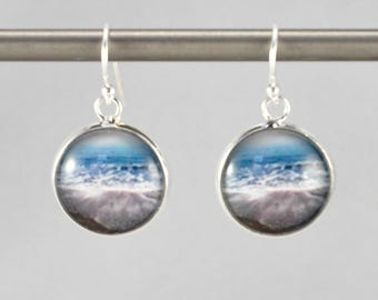 Aqua Seascape - Earrings -  Sterling Silver Ear Wires - Photography - Handmade - Unique Gift - Matching Bracelet Available -  Wearable Art!
