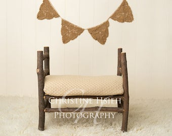 Wood Bed Vintage Banner Newborn Digital Photography Backdrop