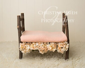 Bed Newborn Digital Photography Backdrop Girl Peach Flowers