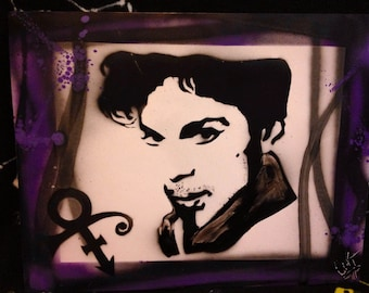 "Prince tribute spray paint art poster 11x14"" design"