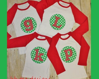 Kids Christmas Shirt with Initial