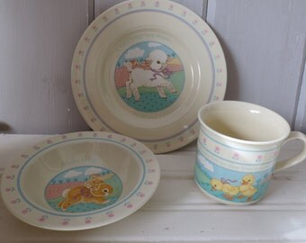 Vintage HALLMARK 1984 Baby's Heirloom Collection Dish Set Lamb Bunny Chicks Plate Bowl Cup