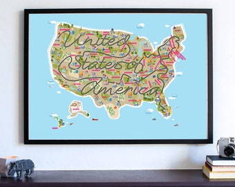 Cute Kids Room Decor USA Map, Nursery Map, United States of America Road Trip Poster Wall Art Print, Where To Next Home Decor