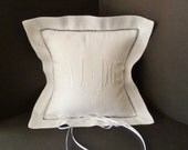 Linen Ring Bearer Pillow Custom Embroidered Monogram Bride and Groom Keepsake Pillow