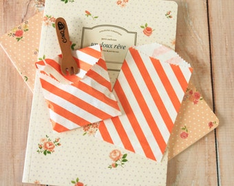 Orange Diagonal Stripe Itty Bitty Bags small paper bags