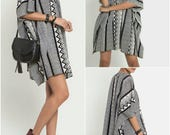 Oversize Deep V Neck Black Graphic Printed Light Cotton Women Poncho Dress Top Tunic