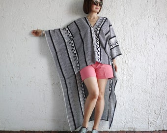 Deep V Neck Graphic Printed Light Cotton Short Front Long Back High Low Hem Caftan Kaftan Poncho Women Top Blouse Tunic