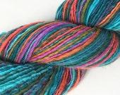 SALE - Handspun Texel Single Ply Yarn, Hand Painted Yarn, Fiesta