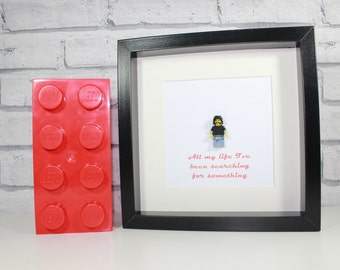 FOO FIGHTERS - Awesome framed custom Dave Grohl Lego minifigure - Superb art work