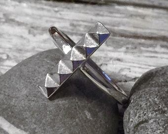 Long Pyramid Ring, Handmade in Sterling Silver Contemporary Design / Square / Triangle / Fashion Trend