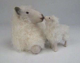 English Cotswold Sheep Figure Mary's Little Lamb Kiss