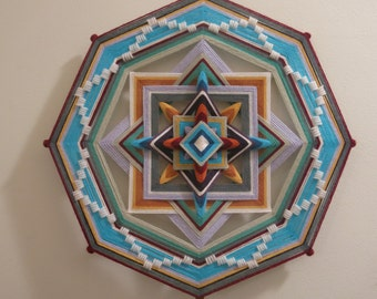 Peaceful Mind, 16 inches, 8-sided all wool ojo de dios, by custom order and additional payment for Crossroads