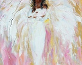 Reserved for Ariel Custom original oil painting Angel and baby by Karen Tarlton - final payment