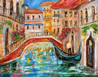 Venice italy Spring painting in oil landscape palette knife impressionism on canvas 16x20 fine art by Karen Tarlton