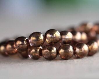 8mm Czech Glass Druk Beads, Glass Round Beads, Bronze Green/Lilac Luster (50pcs)