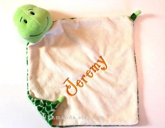 Green TURTLE Minky Blanket - Monogrammed Turtle Blankie - Security Blanket