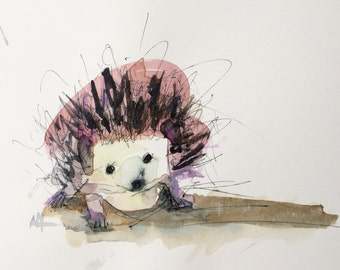 Hedgehog Original Watercolor Painting by Angela Moulton 8 x 10 inch with 11 x 14 inch White Mat