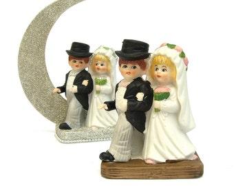 Bride and Groom Cake Topper Figurine, DIY Wedding, Mr & Mrs, Top Hat, Wholesale Lot Destash