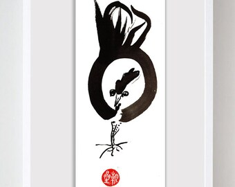 Rooster, Year of the Rooster, Chinese New Year, Original Zen Sumi ink Painting, red envelope, zen decor, child's nursery art, japan style