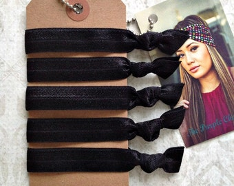 Classic Black Set of 5 Hair Ties// Gifts for Her FOE Hair Ties Ouchless Hair Ties Non Marking Custom Color Hair Ties
