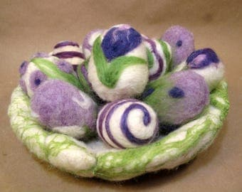 Easter basket and eggs. Needle felted wool.