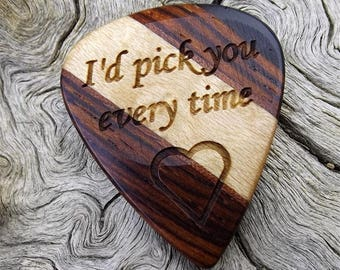 Handmade Multi-Wood Guitar Pick - Premium Quality - Laser Engraved On Each Side - Actual Pick Shown - No Stock Photos