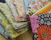 RESERVED 10 Vintage Bed Sheets retro floral stripe flat bed sheets, reclaimed fabric