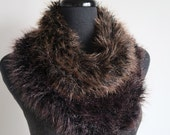 FREE US SHIPPING - Brown Color Mink Faux Fur Soft Yarn Knitted Capelet Cowl Infinity Scarf