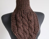Woodland Brown Color Knitted Chunky Capelet Cables Turtleneck Dickey Gaiter Cowl Women Men Unisex