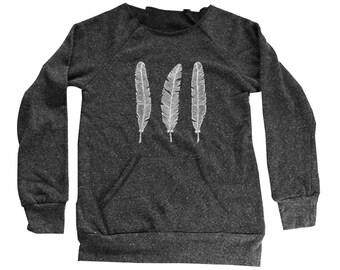 Feather Sweater  - Womens Feather Sweatshirt  - Kangaroo Pocket -  Small, Medium, Large, Extra Large (3 Color Options)