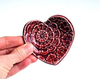 Maroon Heart - Valentine Gift - Ring Dish - Coffee Spoon Rest - Ceramic, Pottery, Handmade- Jewelry Dish, Bridesmaid Gift,  Tea Bag Rest