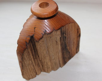 Wood Turned Candle Holder Raw Edge - Very Unique and Natural Earthy Decor - Handmade Functional Art