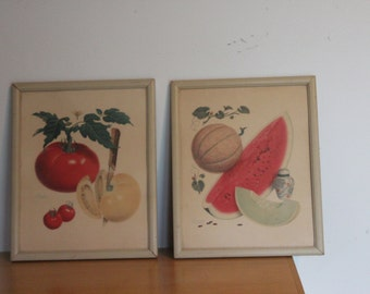 Retro Kitchen Fruit Vegetable Prints - Cottage Shabby Chic - Painted wood frames - Artist Pertchit