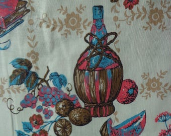 Vintage Kitchen Themed Fabric, 36 inches x 3 Yards , One Way Pattern